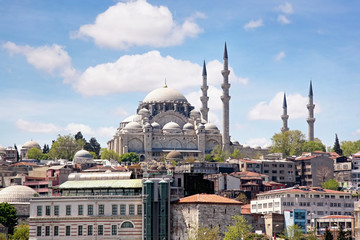 Istanbul city view with Suleymaniye Mosque
