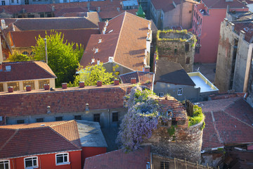 Picturesque Old town aerial view / rooftops  pattern
