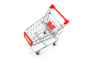 isolated shopping cart on white background