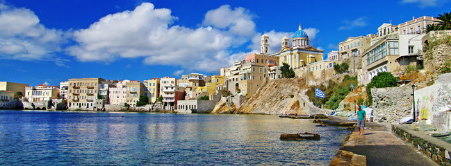 beautiful panorama of greek island Syros