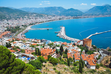 Alanya harbor, Turkey. View to fortress and marina.