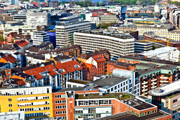 cityscape of Hamburg from the famous tower Michaelis