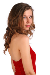 Attractive girl looks above shoulder.