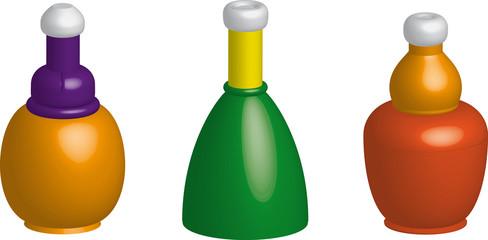 Plastic bottles. Set of different bottles.