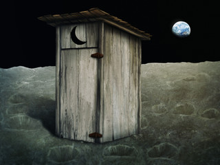 Obraz digital painting of an outhouse on the moon - fototapety do salonu