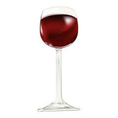 Red dry house wine sparkles in a glass wine glass