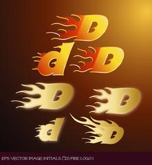 Fototapeta eps Vector image:initials(d)fire logo I obraz