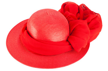 Woman`s summer red straw hat and scarf  isolated