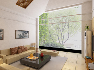 Modern design interior of living-room. render