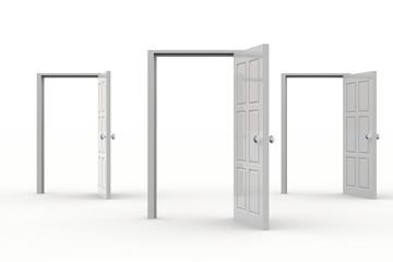 Three open doors