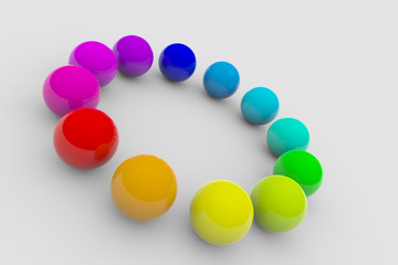 Circle of colorful balls on surface