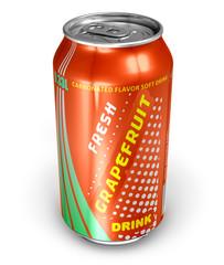 Grapefruit soda drink in metal can