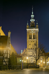 St. Catherine's church at night in Gdansk, Poland.