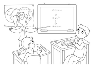 Ragazzi a scuola che ascoltano la professoressa