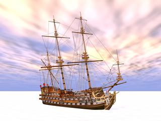 Segelschiff gefangen im ewigen Eis