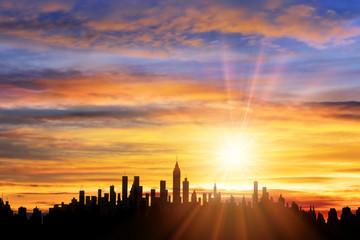 街並と朝日