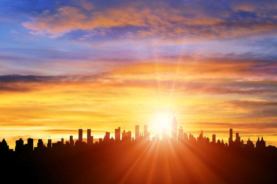 ビル群と朝日