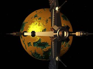 Raumschiff mit gelbem Planet