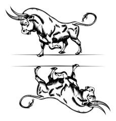 bull icon in engraving style