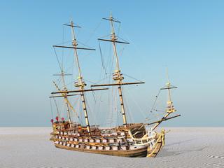 Segelschiff auf dem Trockenen