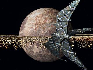 Ferner Planet mit Raumschiff