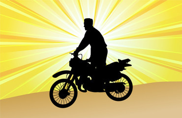 Fototapete - motorcyclist on the abstract background - vector