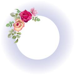 Cadre bleu ciel fleuri de roses