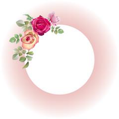 Cadre rose fleuri de roses