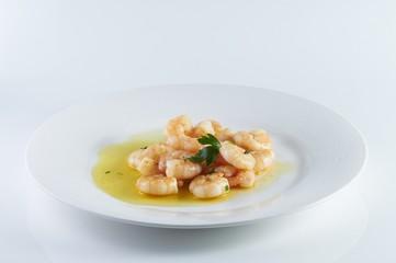 Garlic prawns a tipical spanish