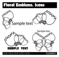 Flowers Vector version. Set of different abstract symbols for de