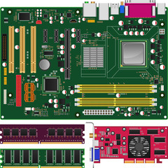 Mainboard,Memory and Graphics Card