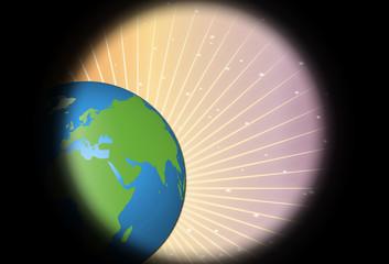 Planeta tierra con rayos del sol