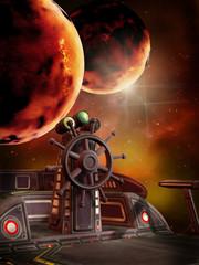 Statek kosmiczny na tle ognistych planet