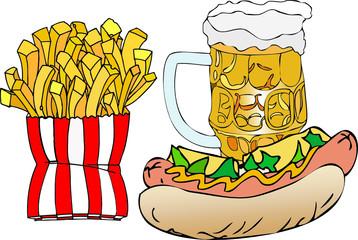 Birra, hot dog e patatine fritte
