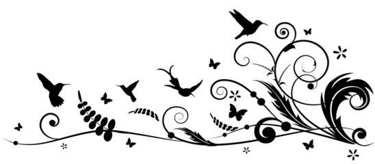 hummingbird and batterflies