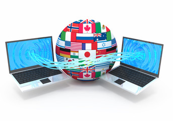 Computer downloading data 3d concept illustration