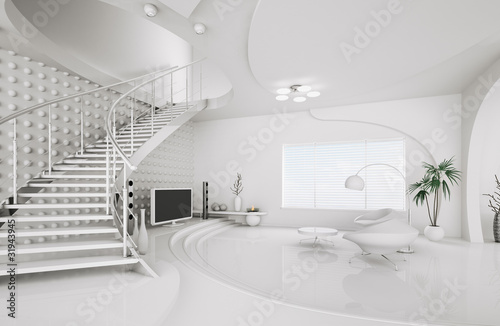weisses wohnzimmer mit treppe interior 3d render stockfotos und lizenzfreie bilder auf fotolia. Black Bedroom Furniture Sets. Home Design Ideas