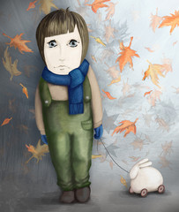sad little girl with rabbit toy, loneliness concept