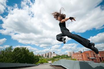 Jump over blue sky