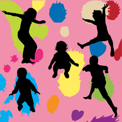 Black children's silhouettes over colorful background
