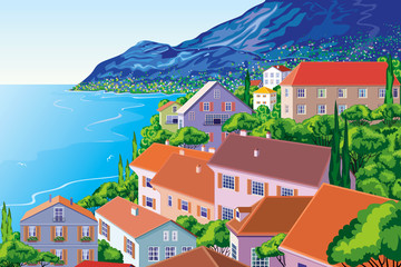 Bay - panoramic view of a town on a seaboard