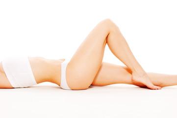 feminine body in white underwear