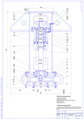 Machine-building drawing. Pump. Vector illustration