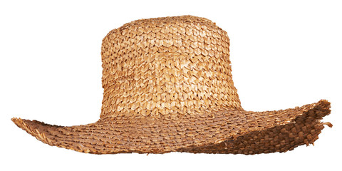 yellow wicker straw hat isolated