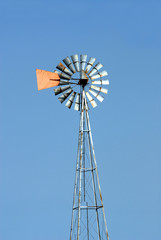 Green energy windmill used to pump water. Vertical copyspace