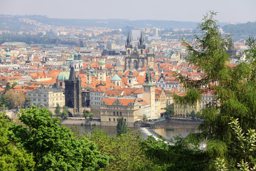 View on the spring Prague above River Vltava