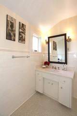 Antique bathroom with white tiles