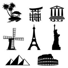 In de dag Doodle icons travel