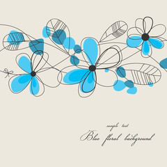 Tuinposter Abstract bloemen Blue floral background