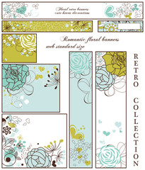 Retro floral banners; standard web size